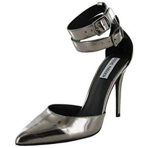 Steve Madden pewter pumps with ankle strap